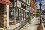 Bright summer day on Main Street in Lee, MA