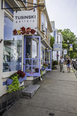 Shops along the street in Rockport, MA