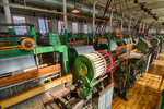 Some of the many weaving looms in the mill buildings at Lowell National Park