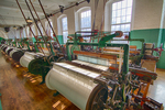 Looms in the textile mill buildings at the Lowell National Park