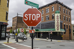 Stop sign on Harrison Street, Worcester, MA
