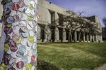 WAM stickers on a light pole - Worcester Art Museum