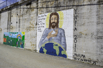 Jesus mural painted on a wall