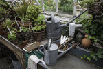 Gardening tools found inside a greenhouse at Strawberry Banke