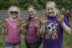 Three girls with dirty hands