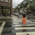 Woman in red skirt crossing a rain soaked street in Harvard Square