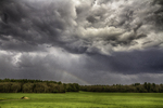 Storm clouds over a field in Amherst, MA