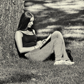 College student studying under a tree at Harvard in Cambridge, MA #4