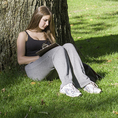 College student studying under a tree at Harvard in Cambridge, MA #5