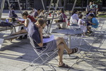 Man reading a paper in Harvard Square in Cambridge, MA
