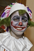 Woman dressed in a clown costume