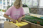 Woman packing summer squash in a box