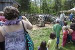 People watching a sheep shearer at Coggeshall Farm, RI