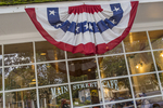 The Main Sreet Café in Stockbridge, MA flying a patriotic decoration