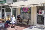 People eating outside at the Home Sweet Home Doughnut Shop in Stockbridge, MA