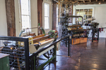 Weaving looms at the Slater Mill Historic Site