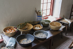 Food prepared in The Sylvanus Brown farm house at the Slater Mill Historic Site