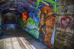Bright colorful art work on a tunnel's wall in Great Barrington, MA