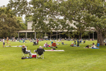 People on the lawn at Tanglewood in Lenox, MA