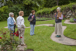 Garden docent giving a group tour of the gardens at Naumkeag in Stockbridge, MA #1