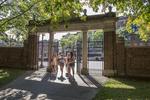 Students entering the Harvard Yard in Cambridge, MA