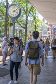 Female student looks at her smartphone as she walks through Harvard Square