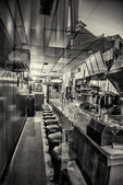 The inside of a diner photographed at night, Gardner, MA
