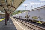 Boxcars at a railroad station in Stockbridge, MA