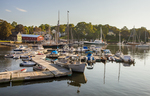 Boats docked in the Camden, Maine Harbor