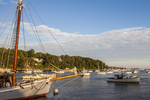 Sailboat docked in Rockport, Maine Harbor