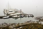 Boats docked at Robin Hood Marina on a foggy day