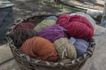 Dyed yarn at Old Sturbridge Village, Sturbridge, MA