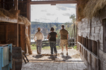 Three people standing in the Freeman Barn at Old Sturbridge Village, Sturbridge, MA