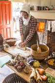 Old Sturbridge Village, Sturbridge, MA - cooking in the Freeman farm house