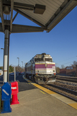 Train coming into the Fitchburg, MA station