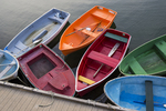 Colorful row boats in Rockport, MA Harbor