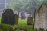 A foggy morning at a cemetery in the center of Petersham, MA