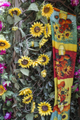 A decoration of flowers outside a store in Stockbridge, MA