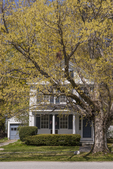 House in the center of Petersham, MA in the spring