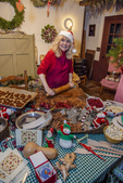 Woman making cookies at Christmas time