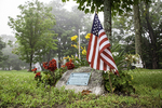A memorial on the Town Common in Petersham, MA