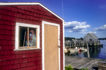 A red fishing shack in Cundy's Harbor, Maine
