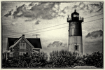 Nauset Light on Cape Cod in black and white