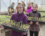 School children heling out at a farm that produces vegetables for the Worcester, MA food bank