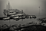 Boats docked in Robin Hood Marina - Georgetown, Maine