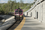 Commuter rail train from Boston to Wachusett Station in Massachusetts