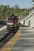 Commuter rail train from Boston to Wachusett Station in Massachusetts