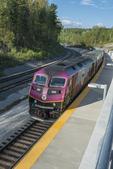 The commuter rail train the Wachusett Station in Princeton, MA