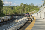 The commuter rail from Boston and a freight train at Wachusett Station in Princeton, MA