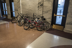 Bicycles in the lobby of Union Station, Worcester, MA